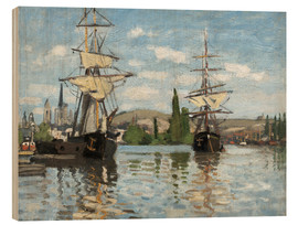 Print på træ  Ships on the Seine at Rouen - Claude Monet