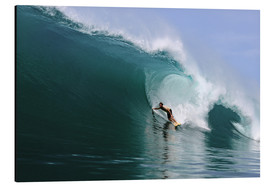 Print på aluminium  Surfing in a huge green wave, tropical island paradise - Paul Kennedy