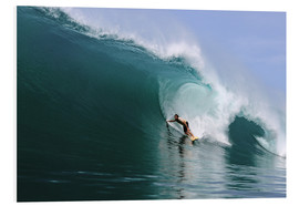 Print på skumplade  Surfing in a huge green wave, tropical island paradise - Paul Kennedy
