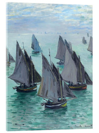 Akrylbillede  Fishing boats in calm weather - Claude Monet
