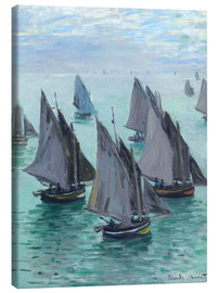 Lærredsbillede  Fishing boats in calm weather - Claude Monet