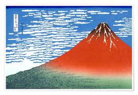 Premium-plakat  Fine Wind, Clear Morning (Red Fuji) - Katsushika Hokusai