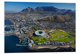 Print på skumplade  Cape Town Stadium and Table Mountain - David Wall