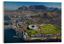 Print på træ  Cape Town Stadium and Table Mountain - David Wall