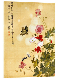 Akrylbillede  Poppies and Butterflies - Ma Yuanyu
