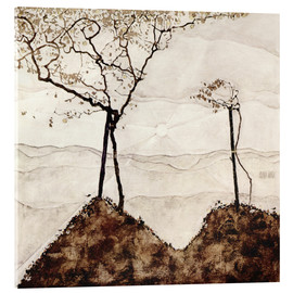 Akrylbillede  Autumn sun and trees - Egon Schiele