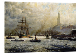 Akrylbillede  The Port of Hamburg, 1893 - Georg Schmitz