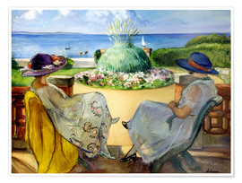 Premium-plakat Two women on a terrace by the sea