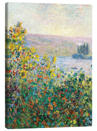 Lærredsbillede  Flower Beds at Vetheuil - Claude Monet