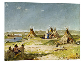 Akrylbillede  Camp of the Indians in Wyoming - Frank Buchser