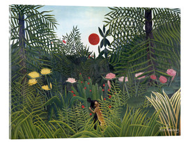Akrylbillede  Forest Landscape with Setting Sun - Henri Rousseau