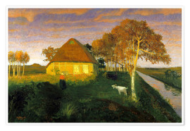 Premium-plakat  Moor cottage in the evening sun - Otto Modersohn