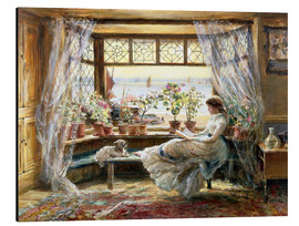 Print på aluminium  Reading by the Window, Hastings - Charles James Lewis