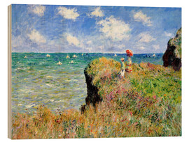 Print på træ  The Cliff Walk at Pourville - Claude Monet