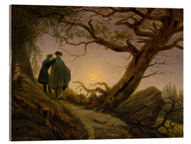 Akrylbillede  Two men contemplating the Moon - Caspar David Friedrich
