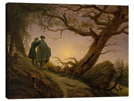 Lærredsbillede  Two men contemplating the Moon - Caspar David Friedrich