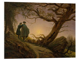 Print på skumplade  Two men contemplating the Moon - Caspar David Friedrich