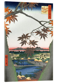Akrylbillede  The Maple Trees at Mama, Tekona Shrine and Tsugi Bridge - Utagawa Hiroshige