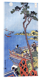 Akrylbillede  Abe No Nakamaro Gazing at the Moon from a Terrace - Katsushika Hokusai