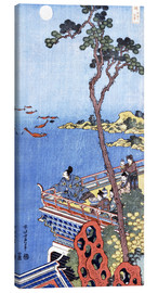 Lærredsbillede  Abe No Nakamaro Gazing at the Moon from a Terrace - Katsushika Hokusai