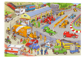 Akrylbillede  Cars search and find picture: race track - Stefan Seidel