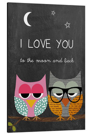 Print på aluminium  Owls - I love you to the moon and back - GreenNest