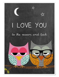 Premium-plakat Owls - I love you to the moon and back