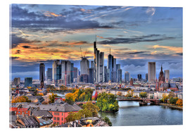 Akrylbillede  Frankfurt skyline in the evening light - HDR - HADYPHOTO