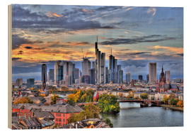Print på træ  Frankfurt skyline in the evening light - HDR - HADYPHOTO