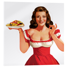 Akrylbillede  the girl with a pizza - Tanja Doronina