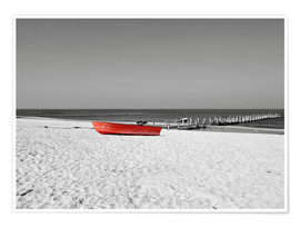 Premium-plakat Red boat on the beach
