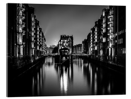 Akrylbillede  Hamburg by night (monochrome) - Sascha Kilmer