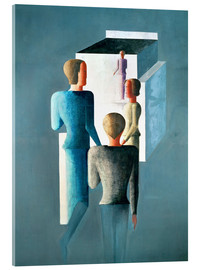 Akrylbillede  Four figures and a cube - Oskar Schlemmer