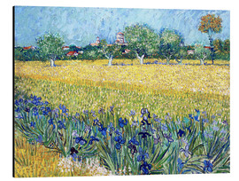 Print på aluminium  View of Arles with Irises in the Foreground - Vincent van Gogh