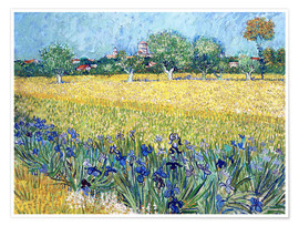 Premium-plakat View of Arles with irises in the foreground