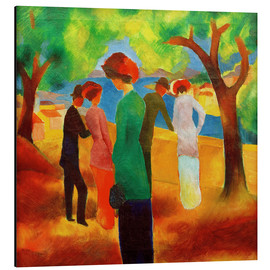 Print på aluminium  Woman in a Green Jacket - August Macke