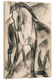 Print på træ  Young Horse in Mountain Landscape - Franz Marc