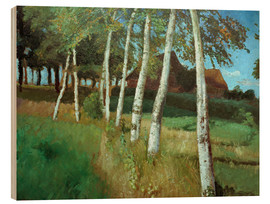 Print på træ  Birches in the marsh - Otto Modersohn