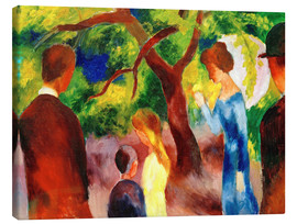 Lærredsbillede  Great Promenade: People in the Garden - August Macke