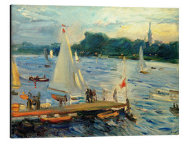 Print på aluminium  Sailboats on the Alster Lake in the evening - Max Slevogt