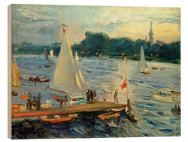 Print på træ  Sailboats on the Alster Lake in the evening - Max Slevogt