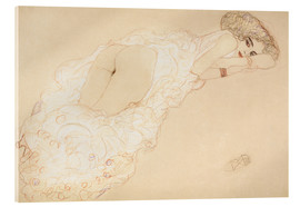 Akrylbillede  Reclining Nude Lying on Her Stomach and Facing Right - Gustav Klimt