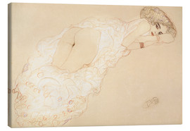 Lærredsbillede  Reclining Nude Lying on Her Stomach and Facing Right - Gustav Klimt