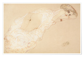 Premium-plakat  Reclining Nude Lying on Her Stomach and Facing Right - Gustav Klimt