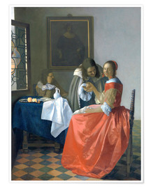 Premium-plakat The Girl with the Wine Glass (A Lady and Two Gentlemen)