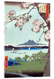 Akrylbillede  Masaki and the Suijin Grove by the Sumida River - Utagawa Hiroshige