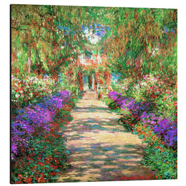 Print på aluminium  A pathway in Monet's Garden at Giverny - Claude Monet