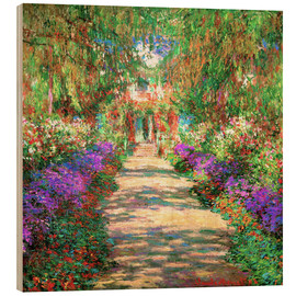 Print på træ  A pathway in Monet's Garden at Giverny - Claude Monet