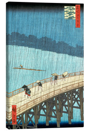 Lærredsbillede  Sudden Shower over Shin-Ohashi bridge and Atake - Utagawa Hiroshige