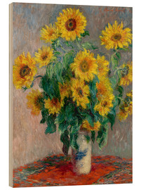 Print på træ  Bouquet of Sunflowers - Claude Monet